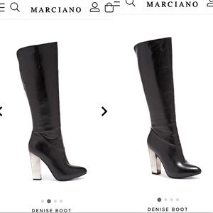 Leather knee high Marciano boots with chrome heel
